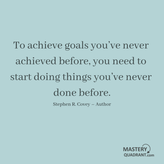 Success quote by Stephen R. Covey - To achieve goals you've never achieved before, you need to start doing things you've never done before.