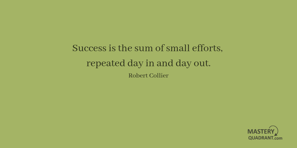 Excellence quote by Robert Collier - Success is the sum of small efforts,   repeated day in and day out.